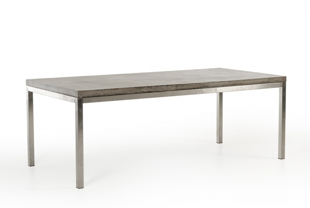 Most Recently Released Concrete Chrome Rectangular Dining Table (View 8 of 20)