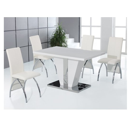 Most Recently Released Costilla 4 Seater Dining Table Set In High Gloss White Intended For High Gloss Dining Tables Sets (View 11 of 20)