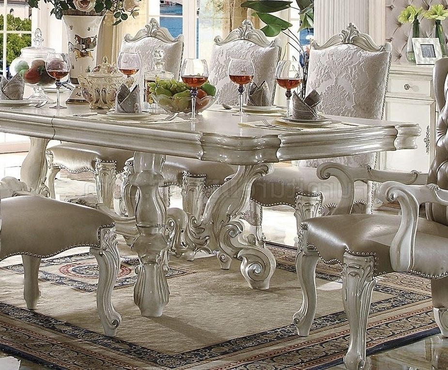 Most Recently Released Craftsman 9 Piece Extension Dining Sets Pertaining To Acme Acme Versailles 9 Piece Pedestal Dining Set In Bone White (View 13 of 20)