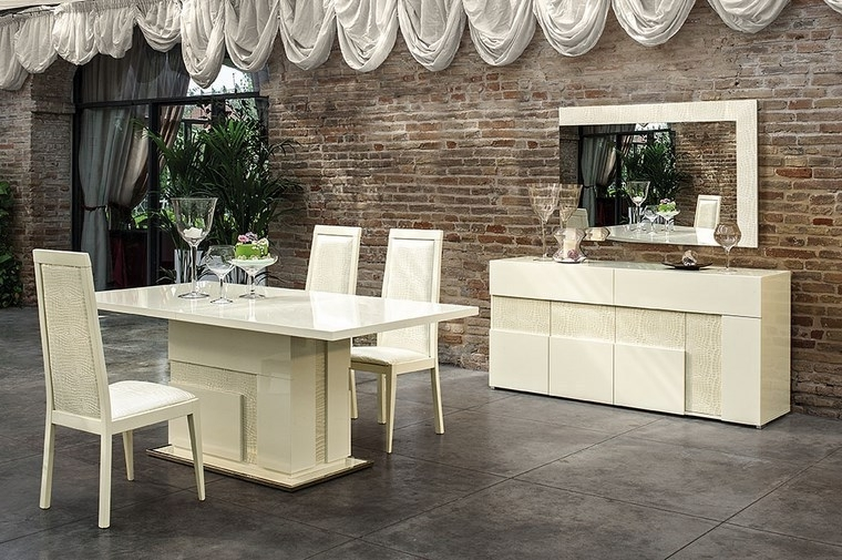 Most Recently Released Cream Gloss Dining Tables And Chairs Inside Italian Beige High Gloss Dining Room Furniture Set – Homegenies (View 5 of 20)