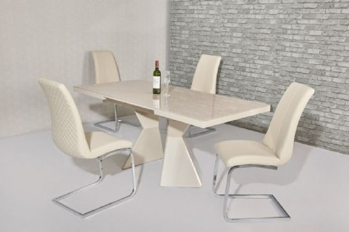 Most Recently Released Dining Sets Pertaining To Cream Gloss Dining Tables And Chairs (View 15 of 20)