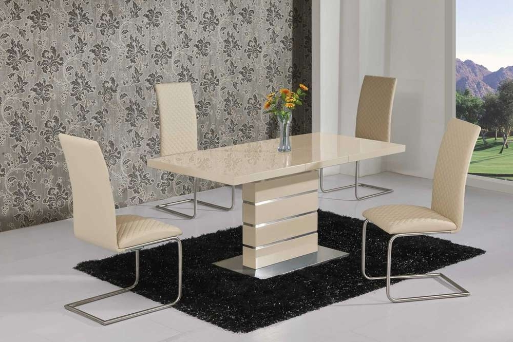 Most Recently Released Extending Cream High Gloss Dining Table And 6 Cream Chairs With Cream Gloss Dining Tables And Chairs (View 7 of 20)