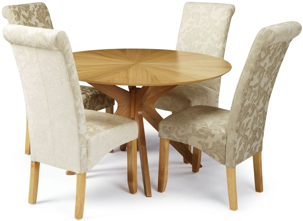 Most Recently Released Fabric Dining Chairs Regarding Douglas Oak Round Dining Set With 4 Kingston Sage Floral Fabric (View 19 of 20)