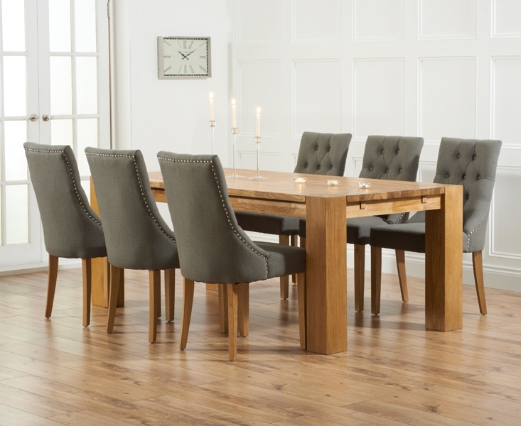 Most Recently Released Fabric Dining Room Chairs Throughout Madrid 200Cm Solid Oak Dining Table With Pacific Fabric Chairs (View 13 of 20)