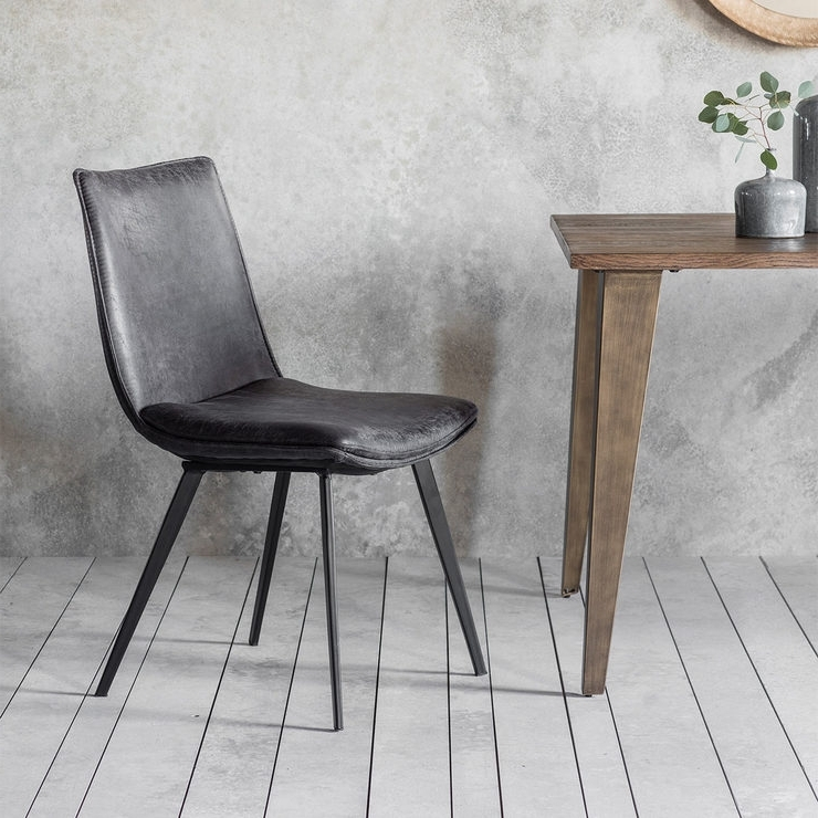 Most Recently Released Gallery Hinks Grey Faux Leather Dining Chair, 2 Pack (View 15 of 20)