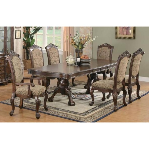 Most Recently Released Gavin 7 Piece Dining Sets With Clint Side Chairs Within Shop Windsor Cherry Finished Wood 7 Piece Dining Set With Beige (View 11 of 20)