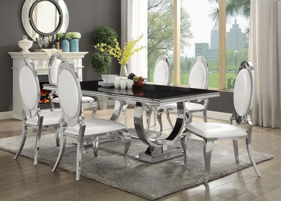 Most Recently Released Glass And Chrome Dining Tables And Chairs With Regard To 107871 72 7 Pc Antoine Chrome Metal Base Dining Table Set With Black (View 16 of 20)