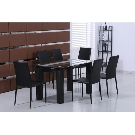 Most Recently Released Glass Dining Tables And Leather Chairs Intended For Stylish Black Glass Dining Table With Set Of 6 Black Faux Leather (View 13 of 20)