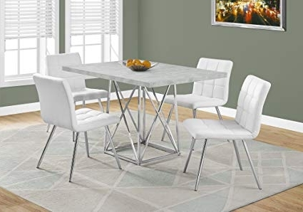 "Most Recently Released Grey Dining Tables Inside Amazon – Monarch I 1043 Dining Table 36""x 48""/grey Cement/chrome (View 14 of 20)"