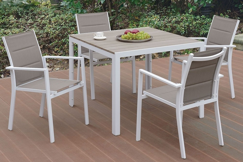 Most Recently Released Jaxon Outdoor 5 Piece Dining Table Set Regarding Jaxon 7 Piece Rectangle Dining Sets With Wood Chairs (View 10 of 20)