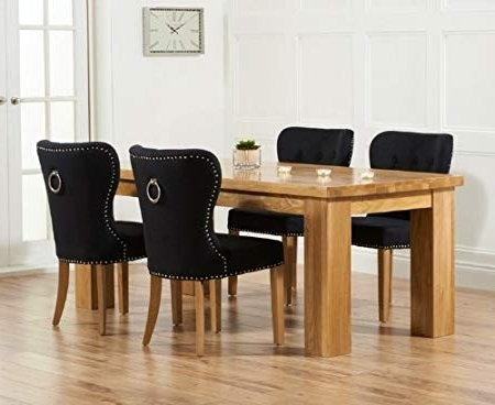 Most Recently Released Kentucky 200cm Solid Oak Dining Table With 6 Knightsbridge Black Inside Oak Dining Tables And Fabric Chairs (View 10 of 20)