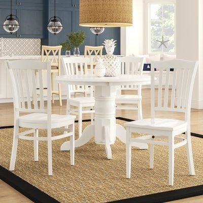 Most Recently Released Market 7 Piece Dining Sets With Host And Side Chairs Throughout Beachcrest Home Langwater Traditional 5 Piece Solid Wood Dining Set (View 13 of 20)