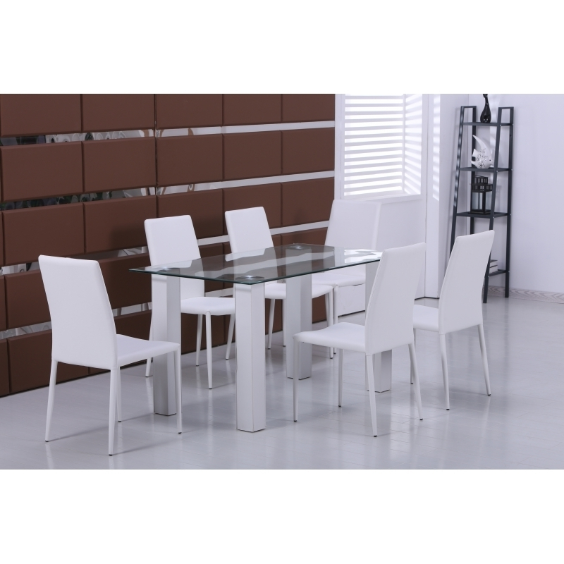 Most Recently Released Modern New Glass Dining Table With 6 White Faux Leather Chairs With Regard To Glass Dining Tables And Leather Chairs (View 14 of 20)