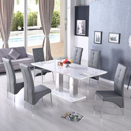 Most Recently Released Monton Extendable Dining Table In White With 6 Vesta Grey Chairs Intended For Hi Gloss Dining Tables Sets (View 15 of 20)