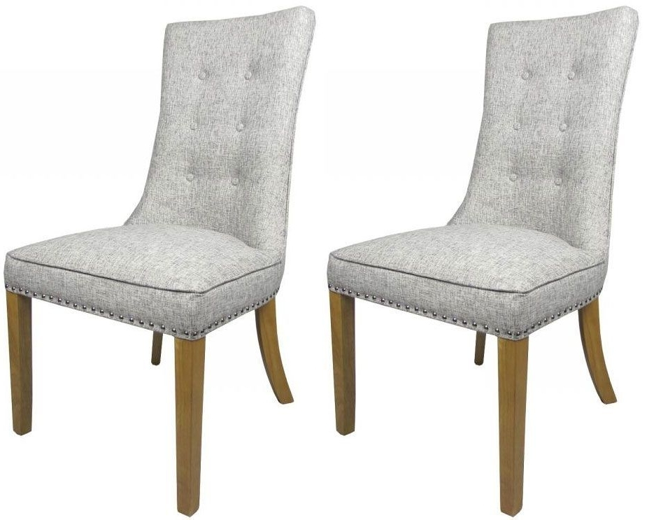 Most Recently Released Pair Of Newbury Grey Weave Buttoned Fabric Dining Chairs Regarding Fabric Dining Chairs (View 6 of 20)