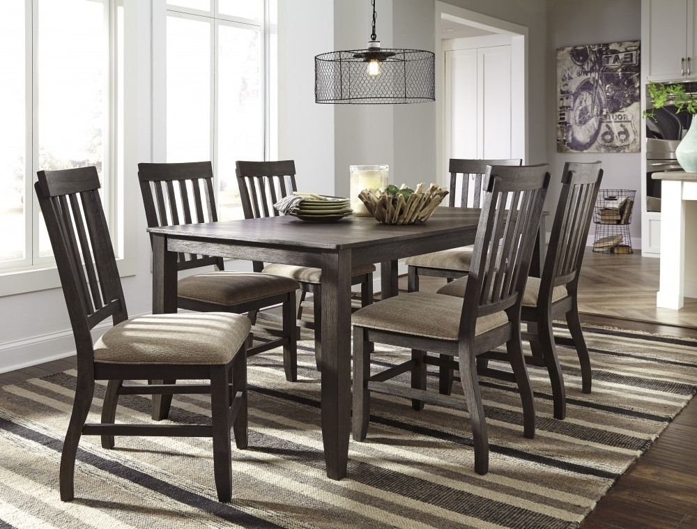 Most Recently Released Rectangular Dining Tables Sets Regarding Dresbar – Grayish Brown – Rectangular Dining Room Table & 6 Uph Side (View 13 of 20)