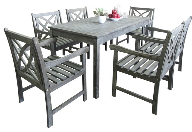 Most Recently Released Renaissance Eco Friendly 7 Piece Outdoor Hand Scraped Hardwood With Regard To Craftsman 9 Piece Extension Dining Sets (View 14 of 20)