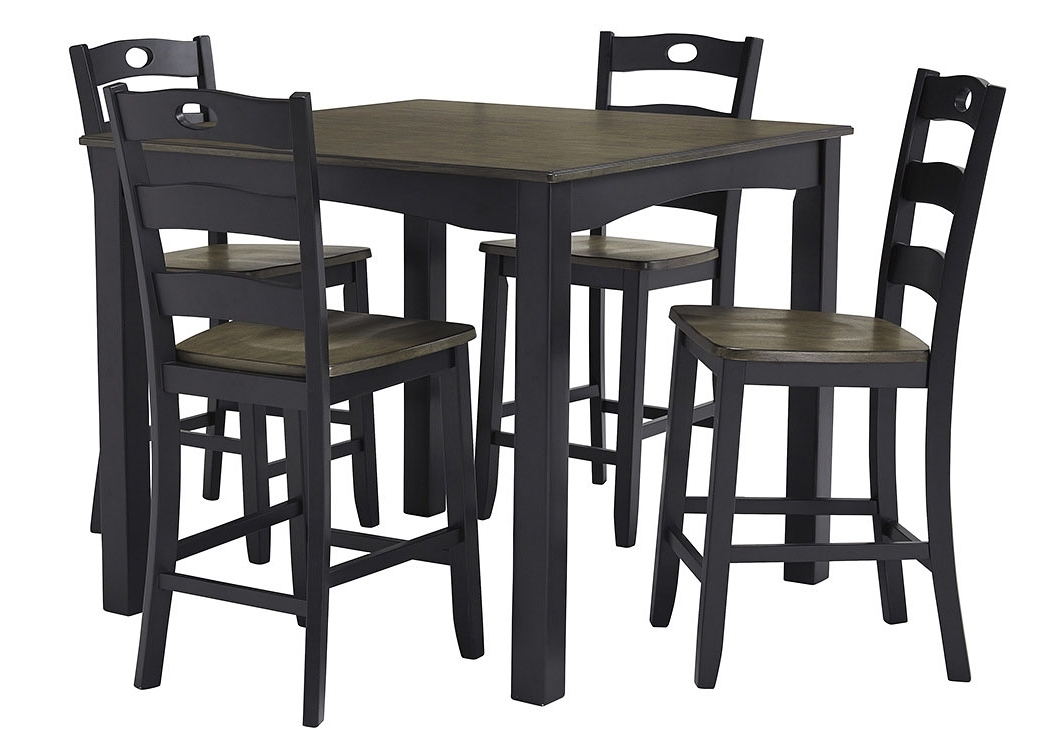 Most Recently Released Rice Furniture & Appliance Froshburg Grayish Brown/black 5 Piece Inside Jaxon 5 Piece Extension Counter Sets With Wood Stools (View 14 of 20)