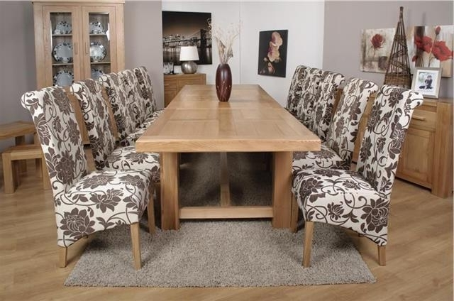 Most Recently Released Roma Chunky Oak Furniture Large Dining Table Set 320Cm With 10 Mia Within Roma Dining Tables And Chairs Sets (View 10 of 20)