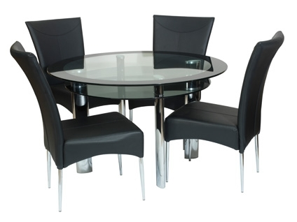 Most Recently Released Round Dining Table With 4 Chairs Impressive Glass Set For Decor 13 With Regard To Round Black Glass Dining Tables And 4 Chairs (View 10 of 20)