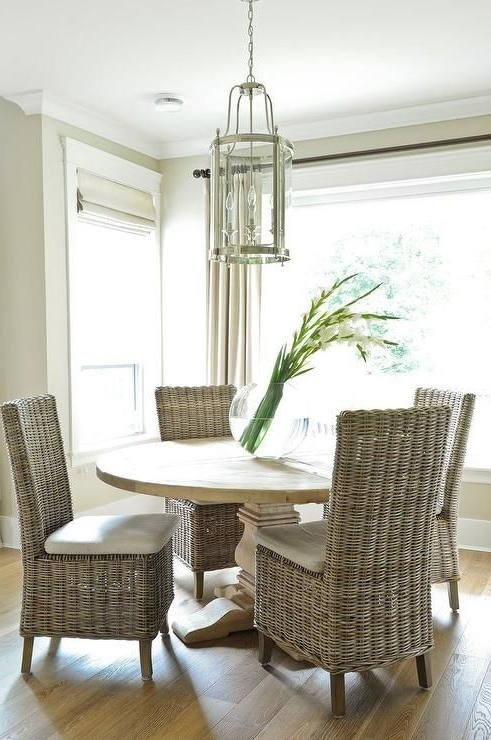 Most Recently Released Round Salvaged Wood Dining Table With Wicker Dining Chairs In Rattan Dining Tables (View 9 of 20)