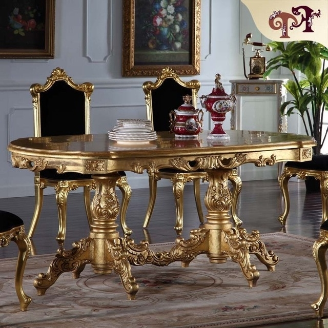Most Recently Released Royal Dining Tables Regarding Royal Classic Furniture Handwork Gilding Golden Foil Royalty Dining (View 14 of 20)