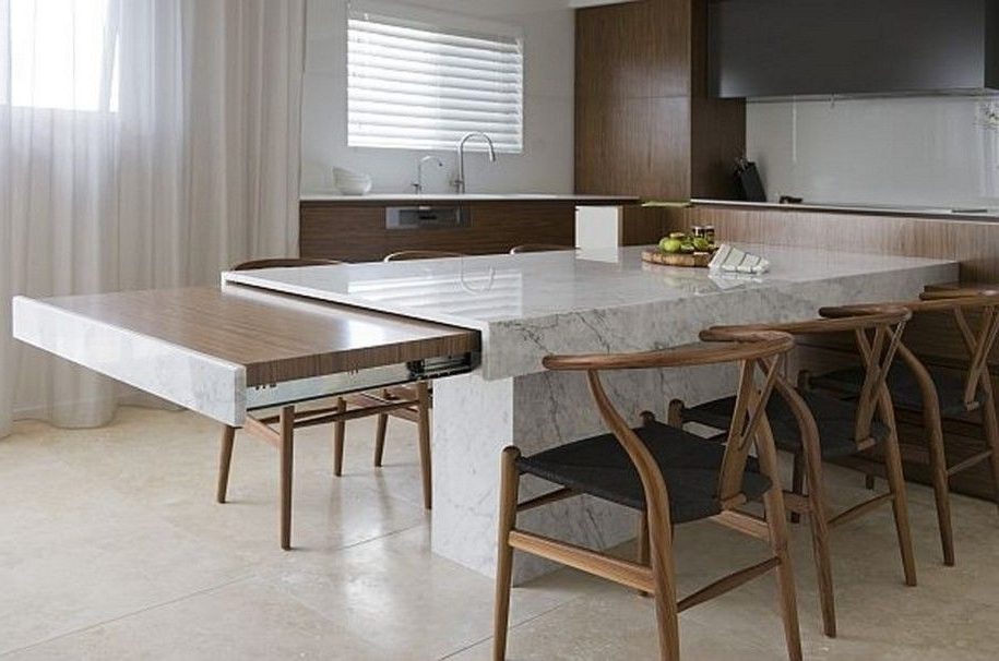 Most Recently Released Small Space Solutions: Hidden Kitchen From Minosa Design : Unique Intended For Extending Marble Dining Tables (View 11 of 20)