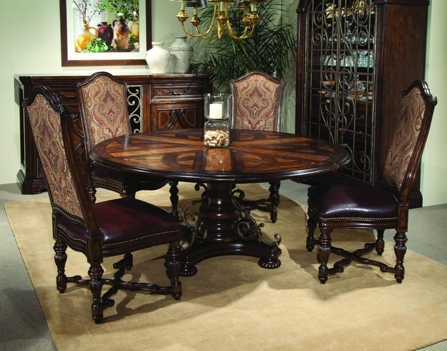 Most Recently Released Valencia Antique Style Round Table Dining Room Set With Regard To Valencia 5 Piece Round Dining Sets With Uph Seat Side Chairs (View 12 of 20)