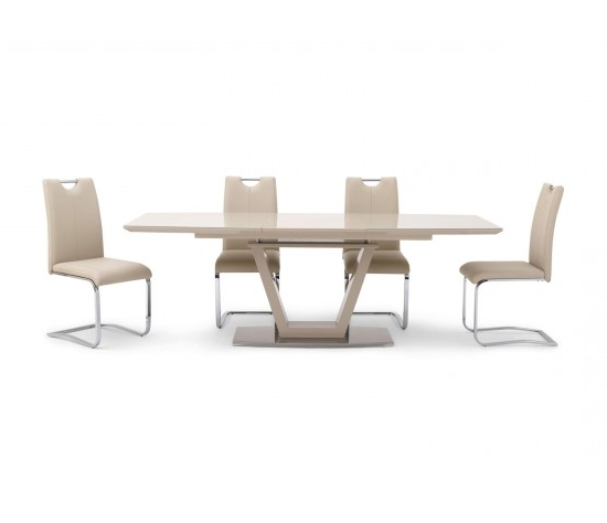 Most Recently Released Valente Extending Cream High Gloss Dining Table With 6 Gabi Chairs For Cream Gloss Dining Tables And Chairs (View 18 of 20)