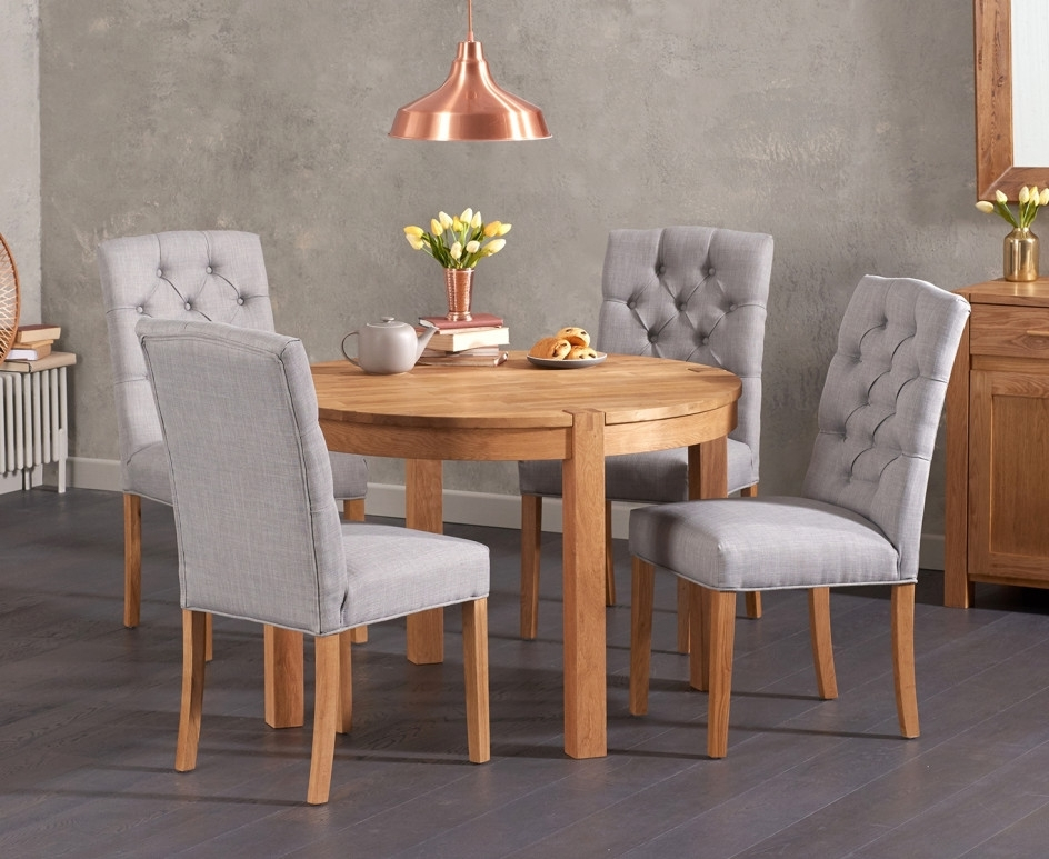 Most Recently Released Verona 110Cm Solid Oak Round Table With Candice Fabric Chairs (View 7 of 20)