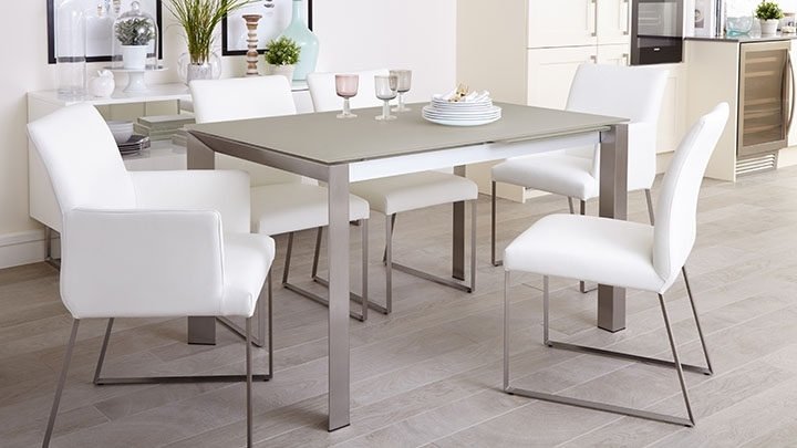 Most Recently Released White Frosted Glass Extending Dining Table (View 16 of 20)