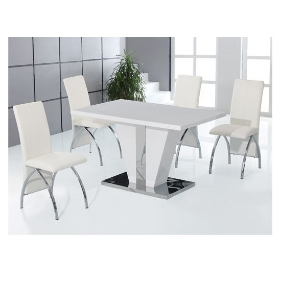 Most Recently Released White Gloss Dining Sets For Costilla High Gloss Dining Table Set (View 12 of 20)