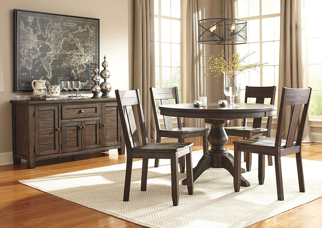 Most Up To Date Alabama Furniture Market Trudell Golden Brown Round Dining Room Pertaining To Market 6 Piece Dining Sets With Side Chairs (View 13 of 20)