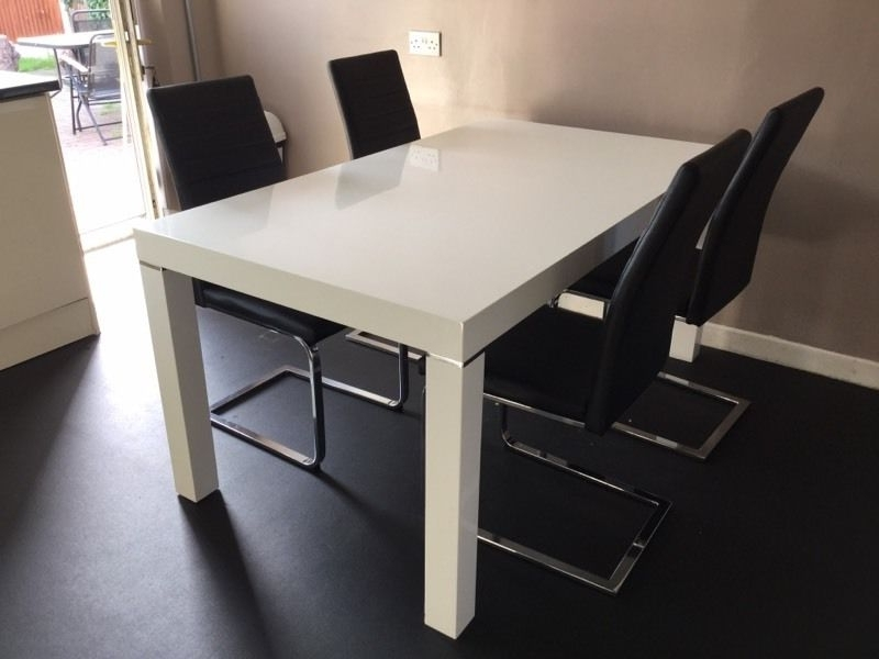 Most Up To Date Alcora Dining Chairs With Regard To Harvey's White Gloss Morano Table With Four Black Alcora Chairs (View 19 of 20)