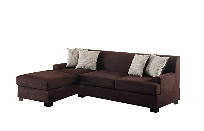 Most Up To Date Amazon: Poundex Bobkona Samuel Microsuede 3 Seat Reversible Intended For Norfolk Chocolate 6 Piece Sectionals (View 4 of 15)