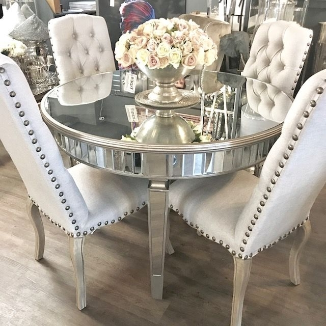 Most Up To Date Bellamy Round Mirrored Dining Table Pertaining To Mirrored Dining Tables (View 14 of 20)