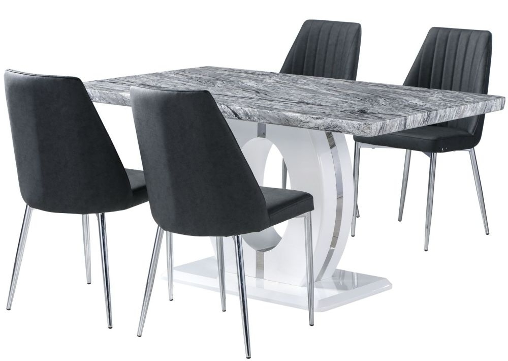 Most Up To Date Buy Shankar Marble Effect Top Rectangular Dining Set With 4 Odeon Throughout Marble Effect Dining Tables And Chairs (View 12 of 20)