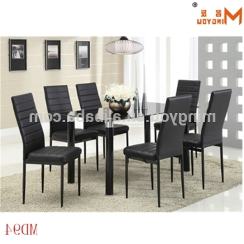 Most Up To Date Cheap Glass Dining Tables And 6 Chairs In Black Glass Dining Table 6 Chairs Set With Reasonable Price – Buy (View 15 of 20)