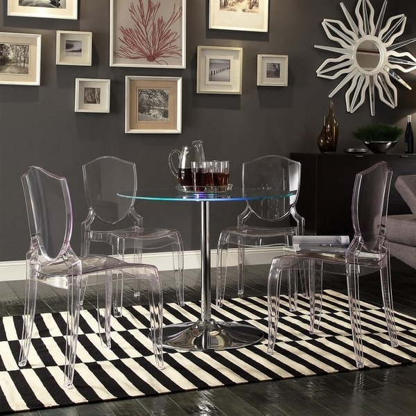 Most Up To Date Crystal Dining Tables Throughout Shop Lorin Led Round Crystal Clear 5 Piece Dining Setinspire Q (View 13 of 20)