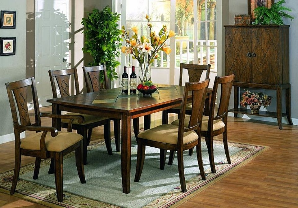 Most Up To Date Dark Wood Dining Room Furniture Pertaining To  (View 12 of 20)