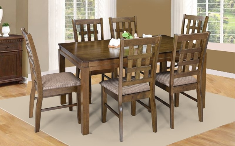 Most Up To Date Dining Table Sets With 6 Chairs Pertaining To Buy Royaloak Lilly 6 Seater Solidwood Dining Set With Cushioned (View 17 of 20)
