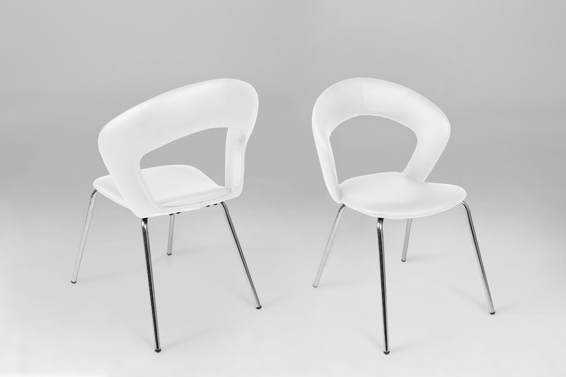 Most Up To Date Edna Leather Look White Dining Chair – Homestreet Furniture, Gifts Throughout White Dining Chairs (View 12 of 20)