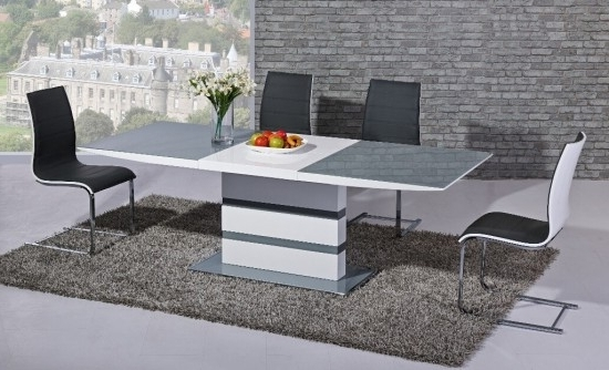 Most Up To Date Extending Gloss Dining Tables Within Arctic Grey And White High Gloss Extending Dining Table Dtx 2104Gw (View 11 of 20)
