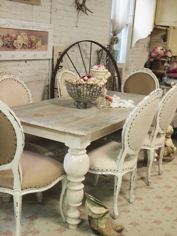 Most Up To Date French Chic Dining Tables Throughout Painted Cottage Chic Shabby French Linen Dining Table Farm Table (View 17 of 20)