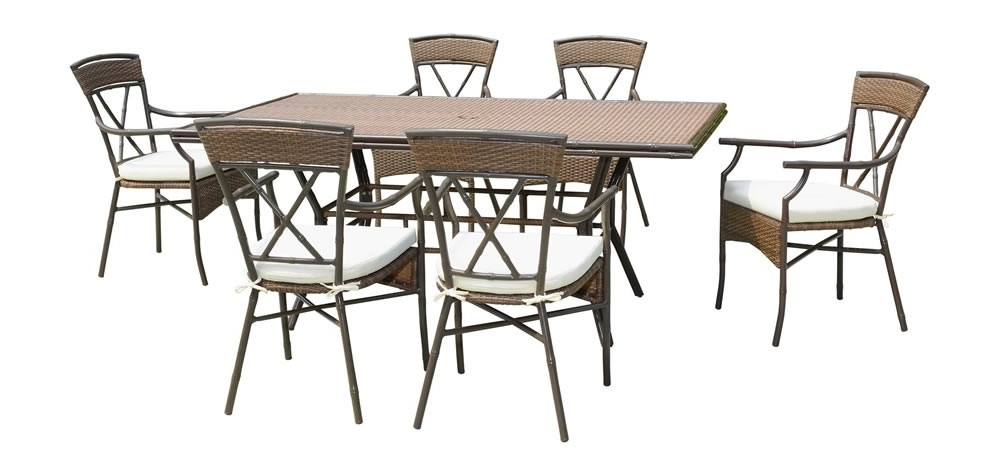 Most Up To Date Gavin 7 Piece Dining Sets With Clint Side Chairs With Regard To Panama Jack Rum Cay 7 Piece Wicker Dining Set – Traditional Wicker (View 13 of 20)