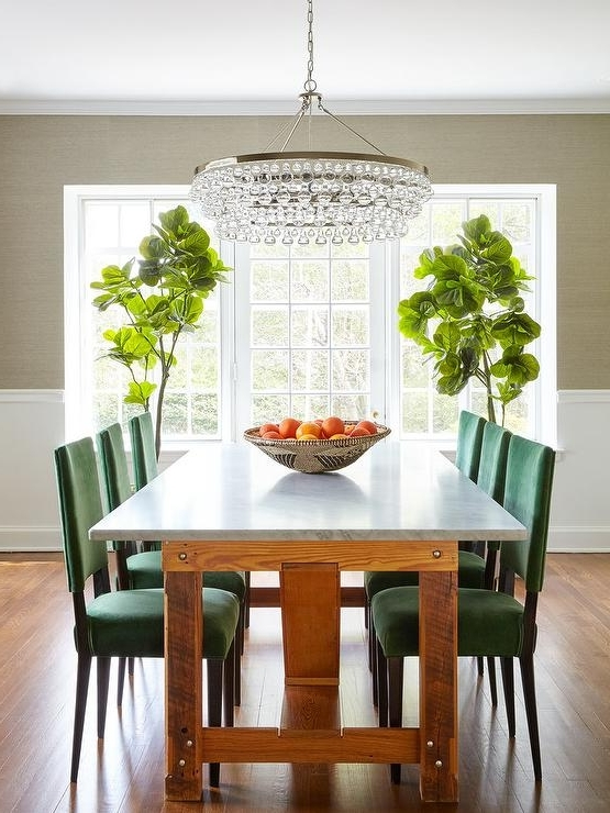 Most Up To Date Green Dining Tables Inside Emerald Green Dining Chairs With Marble Top Dining Table (View 18 of 20)