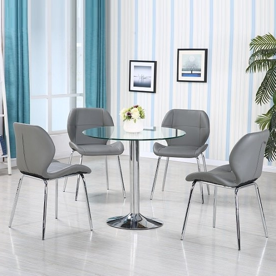 Most Up To Date Grey Glass Dining Tables Pertaining To Dante Glass Dining Table In Clear With 4 Grey Darcy Chairs (View 13 of 20)