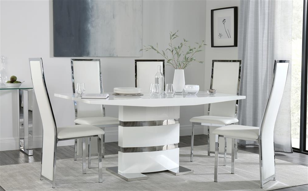 Most Up To Date Komoro White High Gloss Dining Table With 6 Celeste White Chairs Regarding White High Gloss Dining Tables (View 10 of 20)