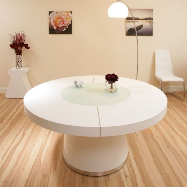 Most Up To Date Large White Round Dining Tables Within Large White Gloss Dining Table Glass Lazy Susan Led Lighting (View 5 of 20)