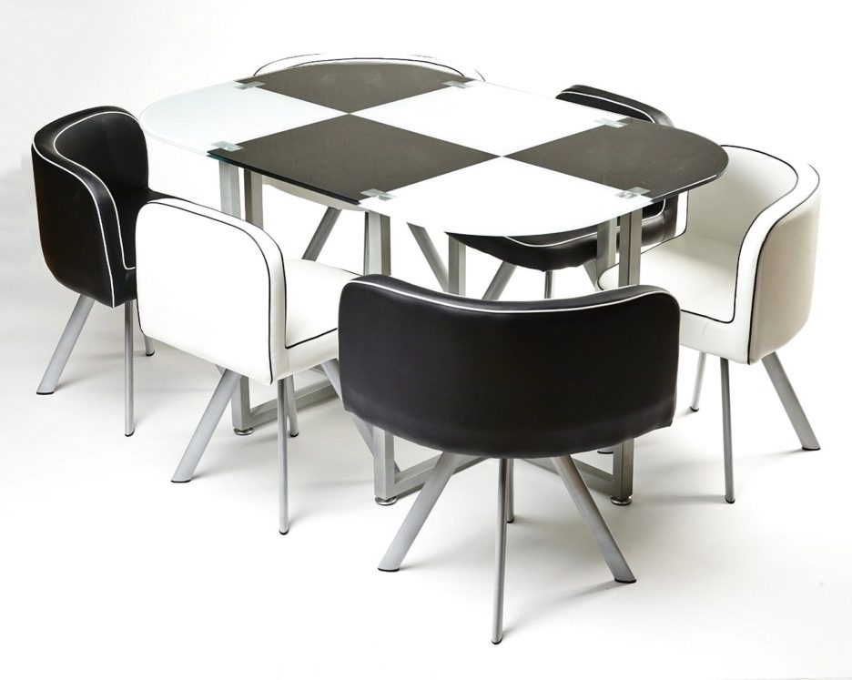 Most Up To Date Modern Black And White Melamine Dining Table Using Silver Metal In White Melamine Dining Tables (View 9 of 20)